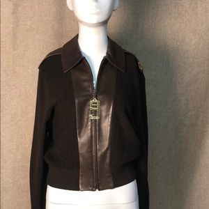 Vintage St John knit and leather zip knit